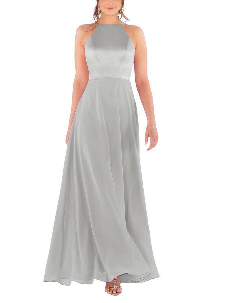 Light silver gray bridesmaid dress