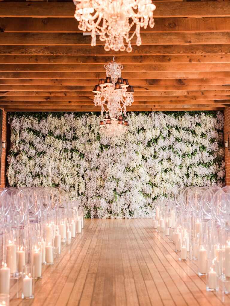 Glam ceremony flower wall