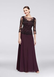 David's Bridal Mother of the Bride Pisarro Nights Style D1545 Purple Mother Of The Bride Dress