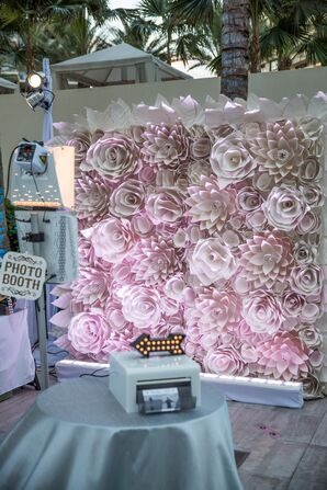 Dramatic Blush Paper Flower Photo Booth Backdrop