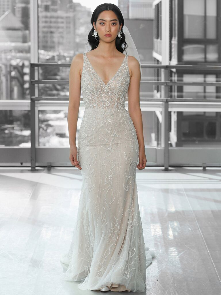 Justin Alexander Signature Wedding Dresses beaded fit-and-flare dress