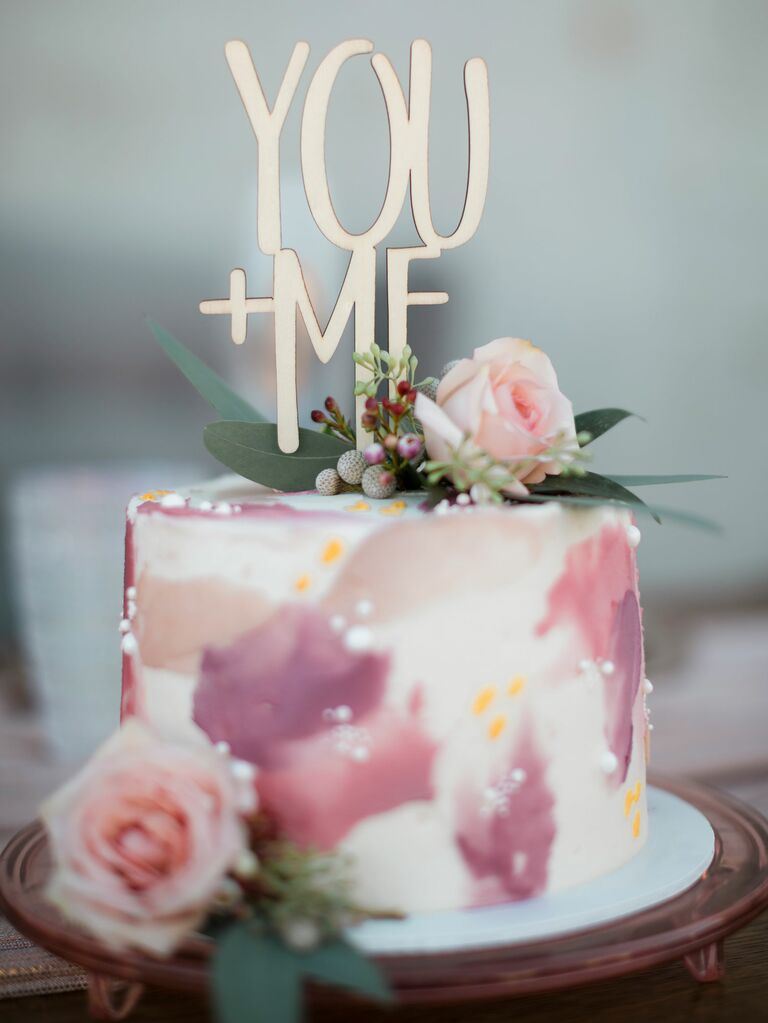 "One-tier bridal shower cake with ""You+Me"" cake topper"