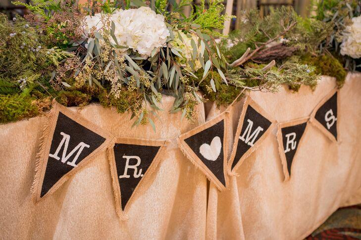 Black and White Burlap Wedding Sign