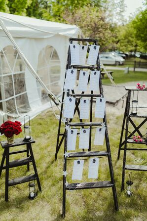 Seating Chart and Décor Displayed on Rustic Ladder