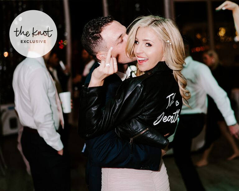 alex bregman wedding bride flashes wedding ring and groom gives her a big kiss