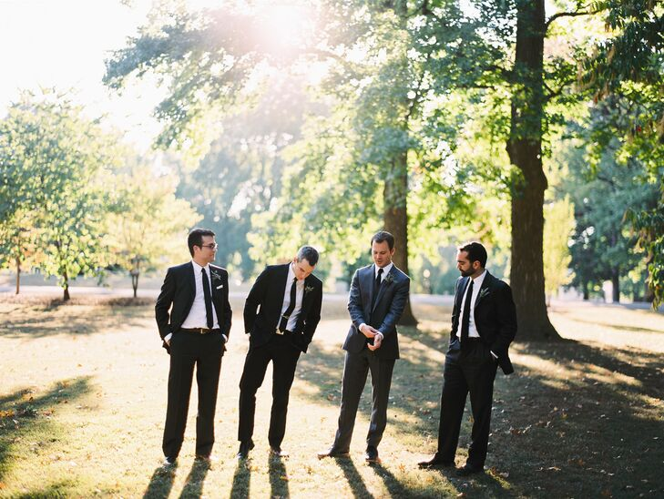 The groomsmen wore J.Crew suits in shades of gray and black.