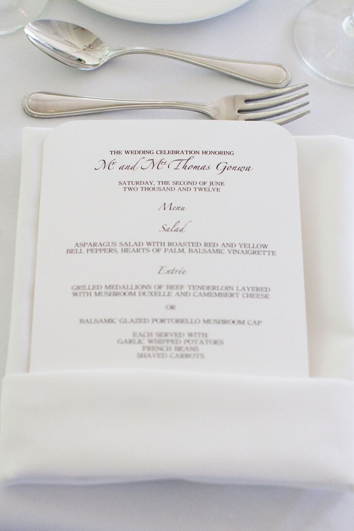 Simple White Menu Cards