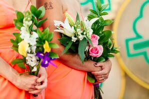 DIY Colorful Bouquets in Las Vegas Elopement
