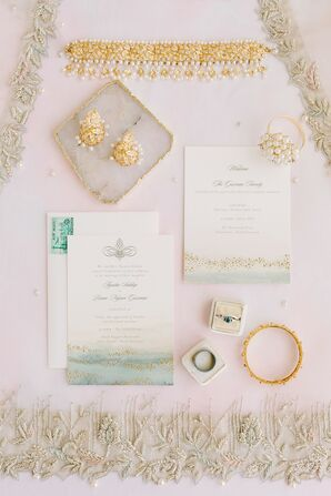 Elegant Gold Jewelry and Watercolor Wedding Invitations