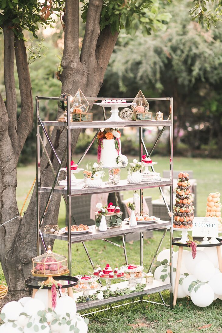 Silver Geometric Dessert Display