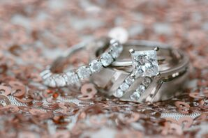 Asymmetrical Engagement Ring and Diamond Wedding Ring