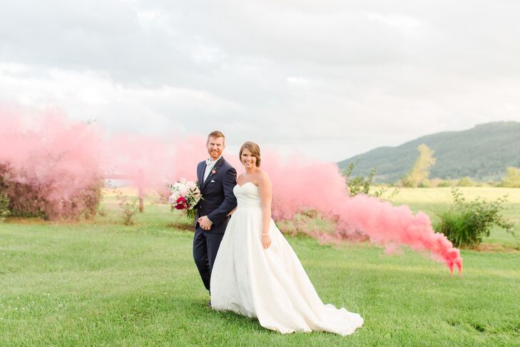 Soft shades of pink and an early 19th-century farmhouse gave Jessica Sanger and PJ Heilig's summer wedding a romantic-meets-rustic feel. The pair DIY'