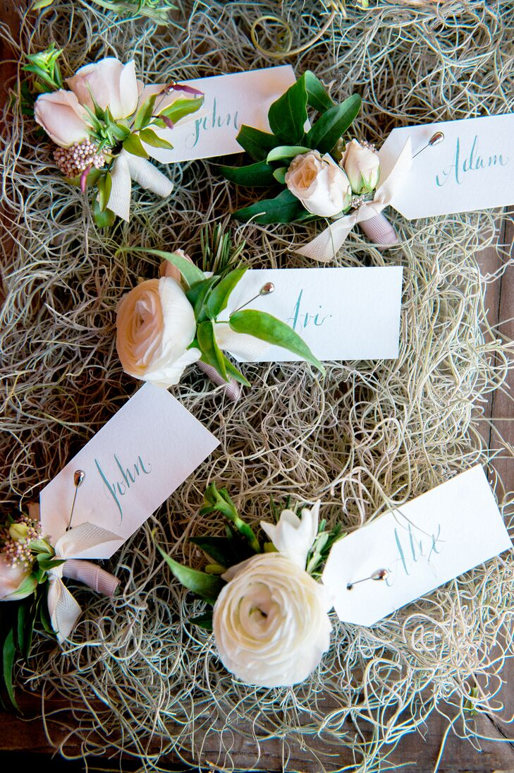 Soft Ranunculus and Rose Boutonnieres