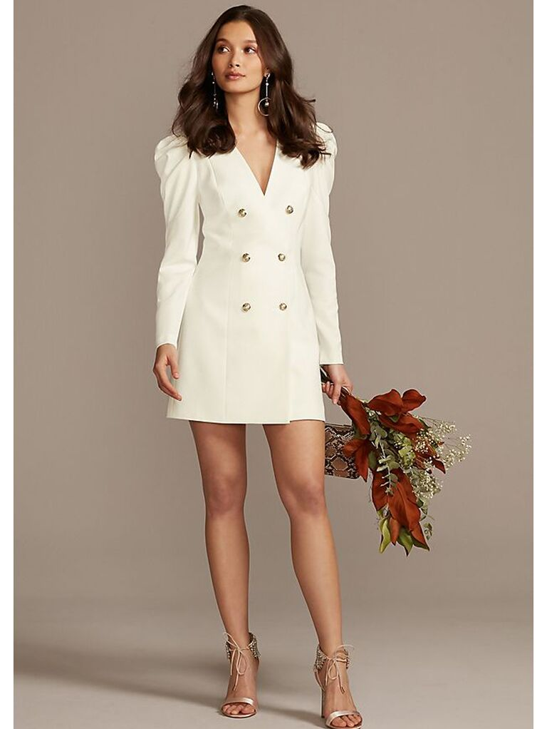 Blazer-inspired mini dress with gold buttons and puff shoulder sleeves