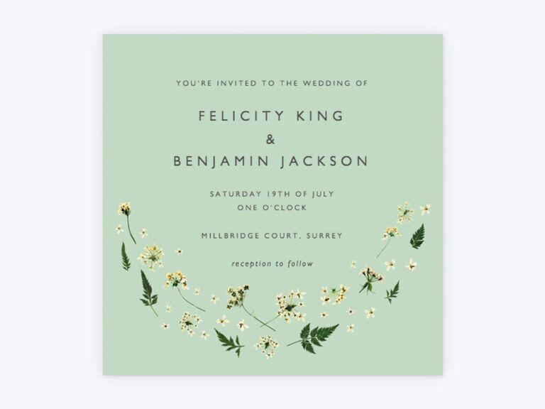 Green rustic wedding invitation