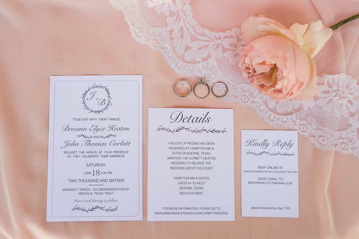 Brieann designed the save-the-dates and invitations in Photoshop, then printed them through an online service. She made the place cards, wooden signs and chalkboards.