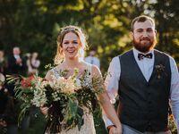 Ohio couple during wedding recessional