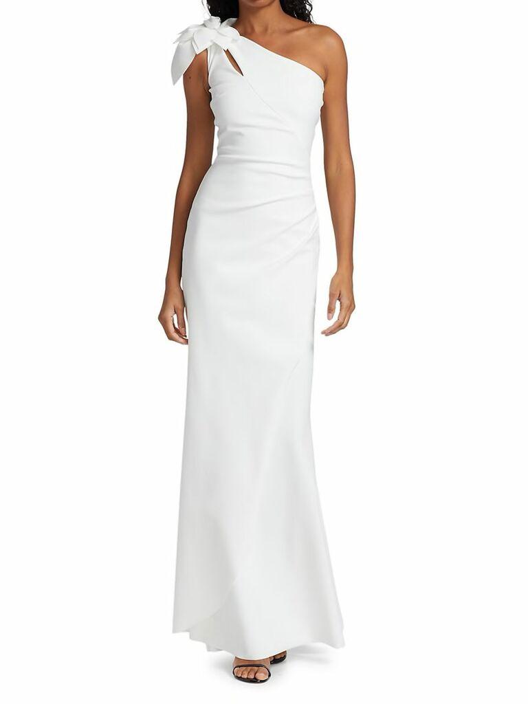 One shoulder sheath gown with floral shoulder detailing