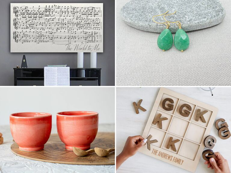 Collage of four 35th anniversary gift ideas
