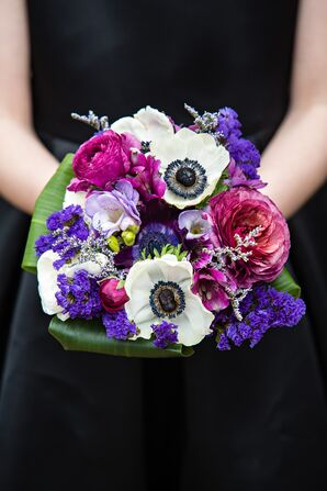 Modern Purple and Pink Bouquet with White Anemone Accents