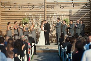 Rustic Paper Garland and String Lit Ceremony