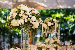 Tall Blush and Ivory Rose Centerpieces