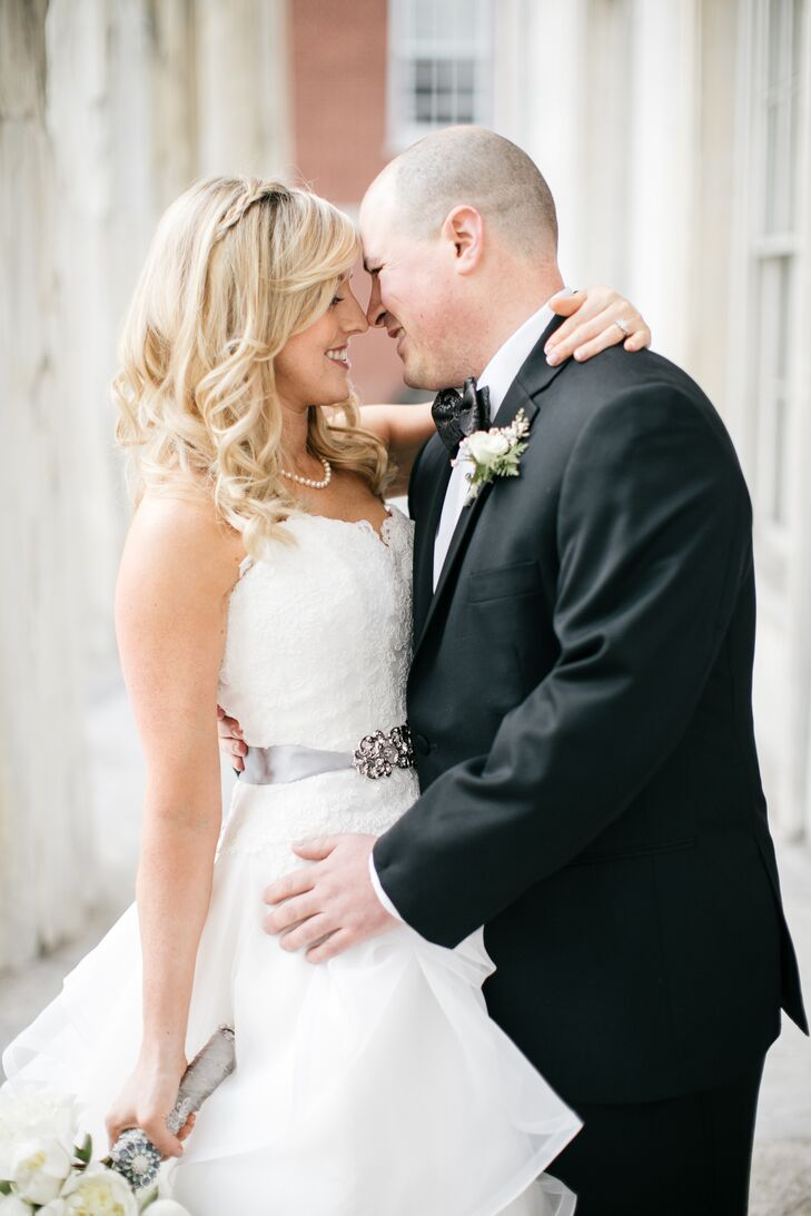 Bride and Groom at Trendy Philadelphia Wedding at Cira Centre Atrium