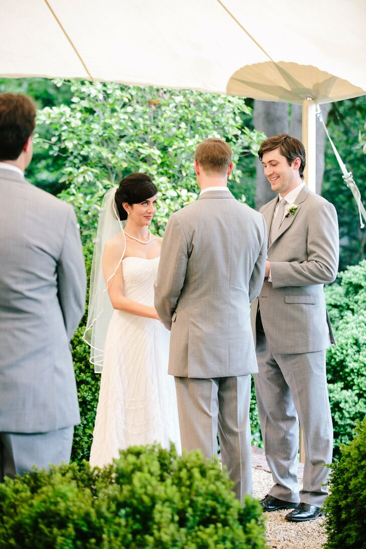 Carey and Jim said their vows and exchanged rings near a fountain in the Textile Museum's garden.