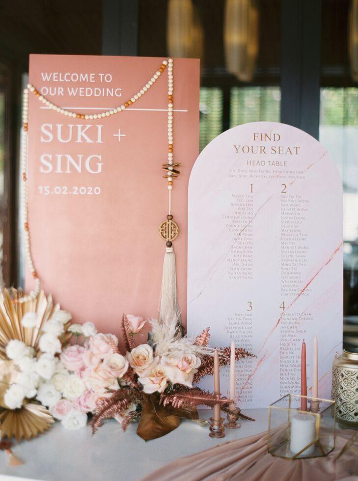 Coral-Hued Wedding Signage in Phuket, Thailand