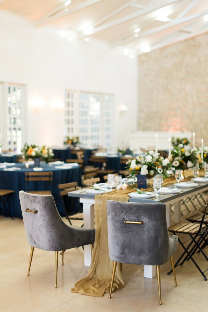 Velvet Chairs for Reception at The Ivory Oak in Wimberley, Texas
