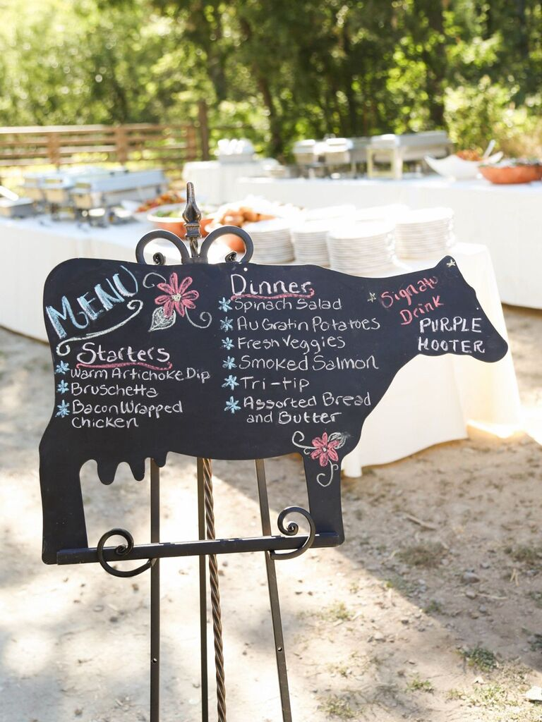 cow-shaped chalkboard creative menu display idea