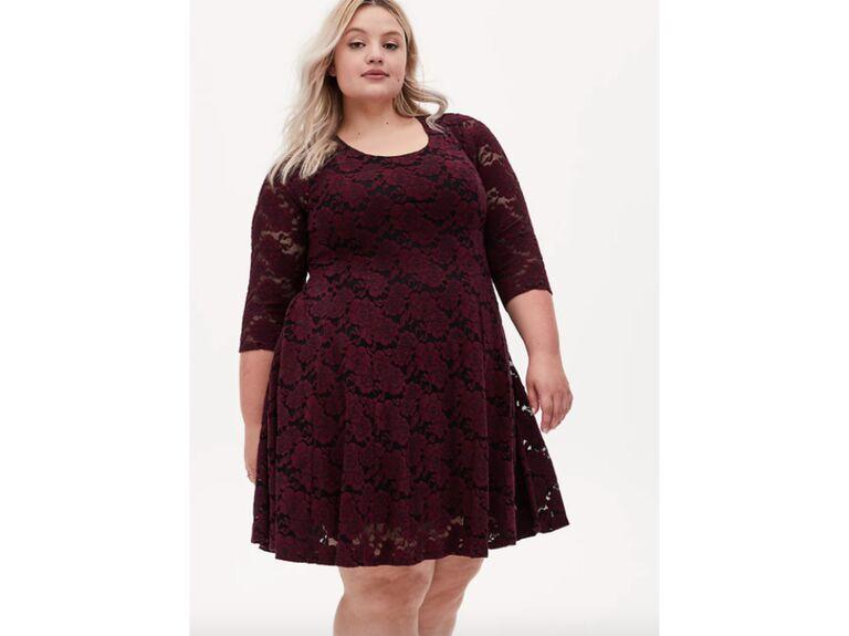 Maroon lace plus-size swing dress