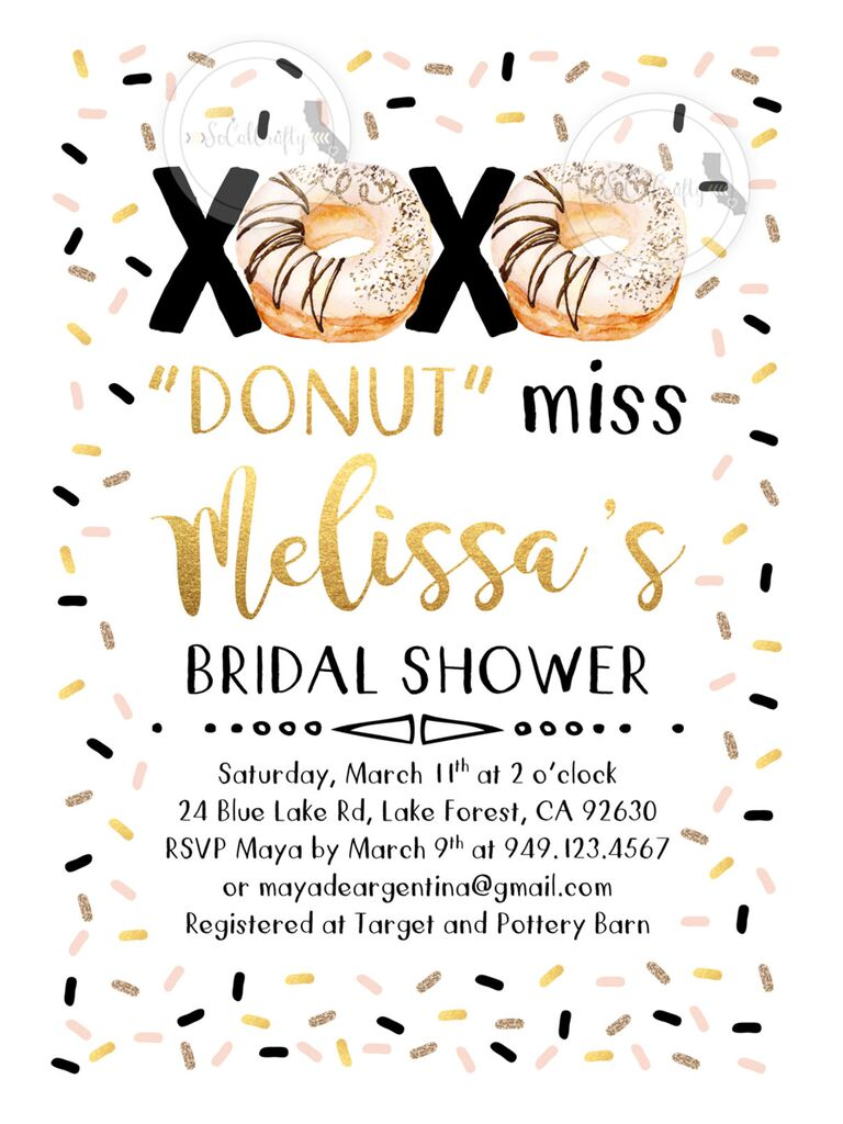 donut brunch bridal shower printable invitation diy