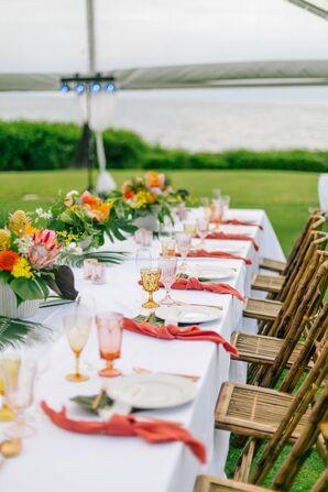 Elegant, Colorful Tropical Centerpieces