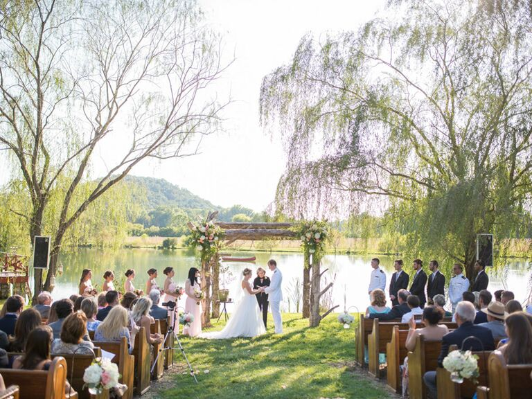 Outdoor Backyard Military Wedding Ceremony