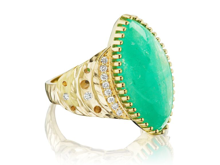 North-south marquise crescent emerald engagement ring