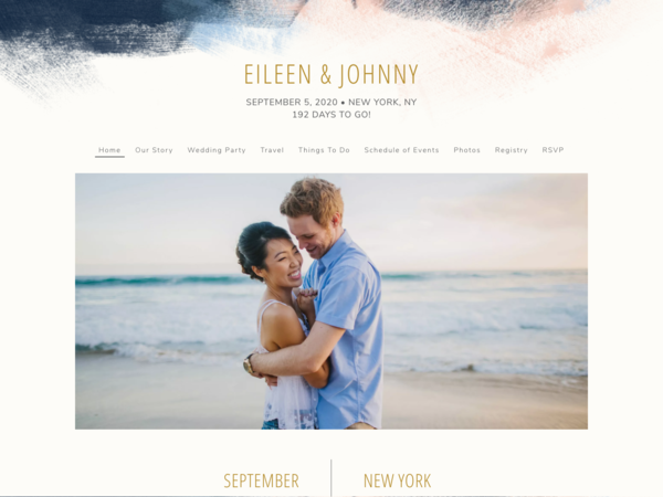 Modern Brushstroke Wedding Website Template, The Knot