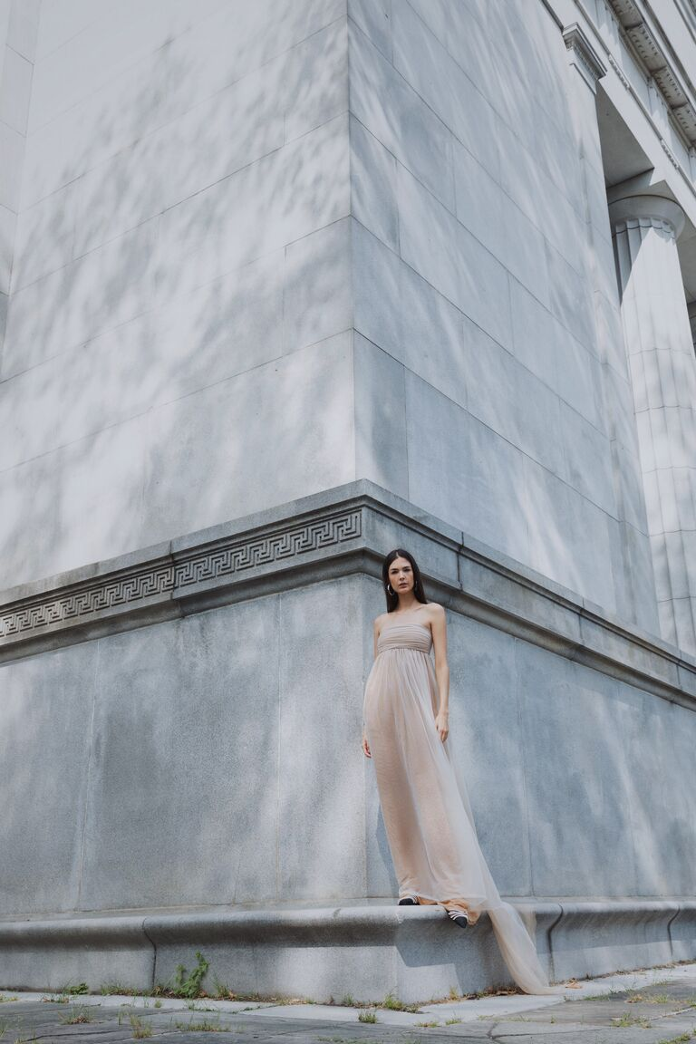 LEIN strapless nude dress