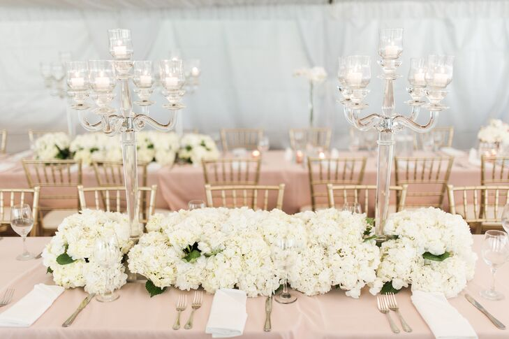 Dining Tables with Lucite Candelabras and White Hydrangeas