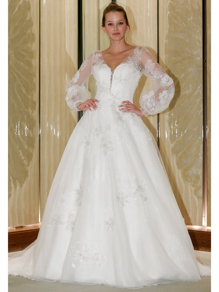 Randy Fenoli Fall 2019 Bridal Collection full A-line wedding dress with sheer poet sleeves