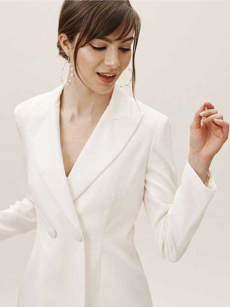 Structured white wedding jacket