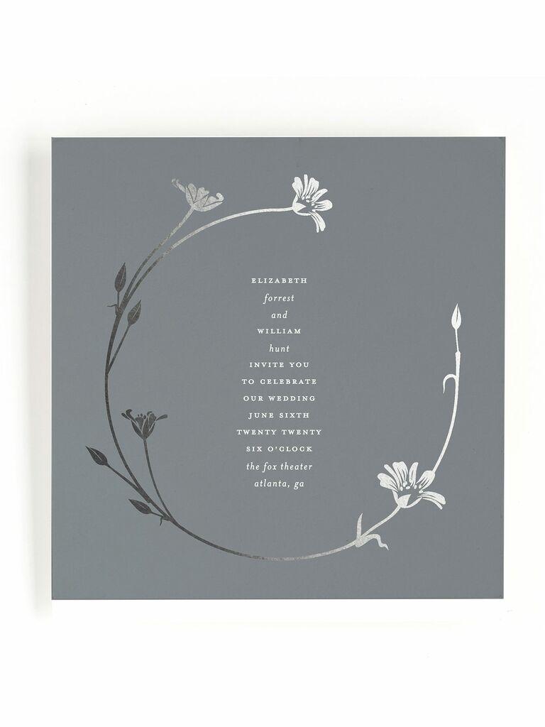 Small silver Minted spring wedding invitation