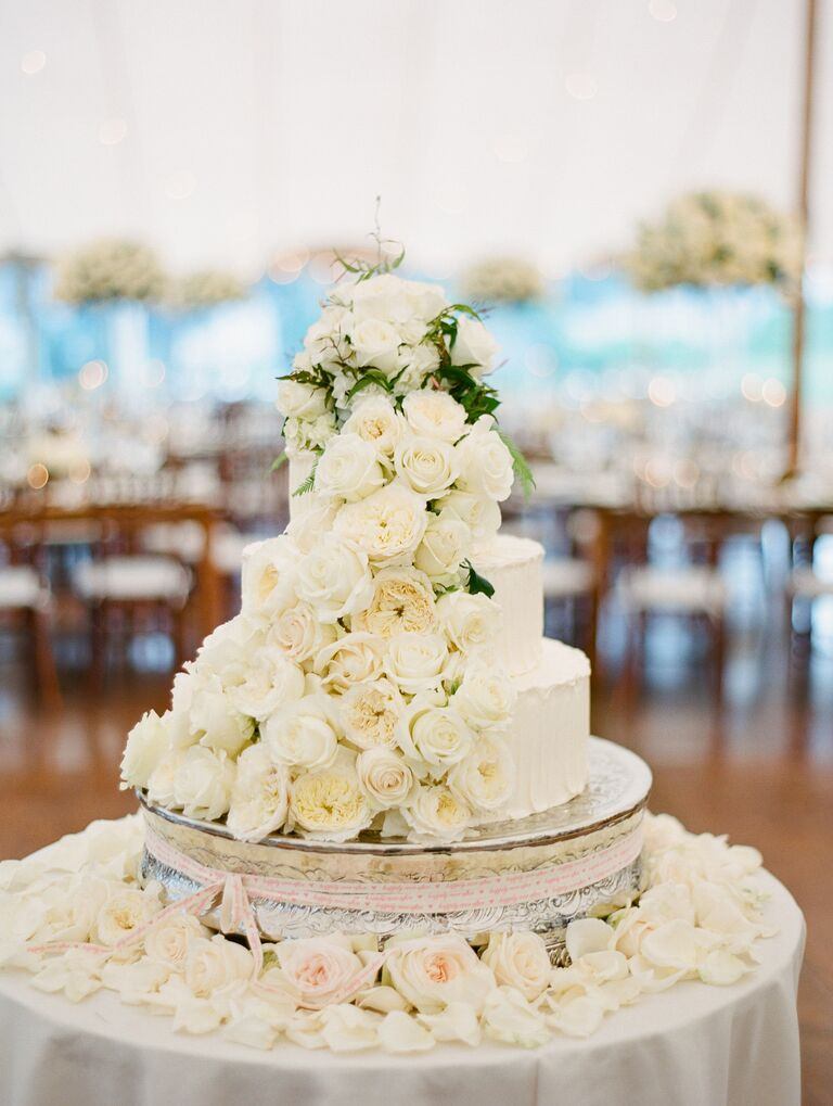 All-white fresh flower wedding cake