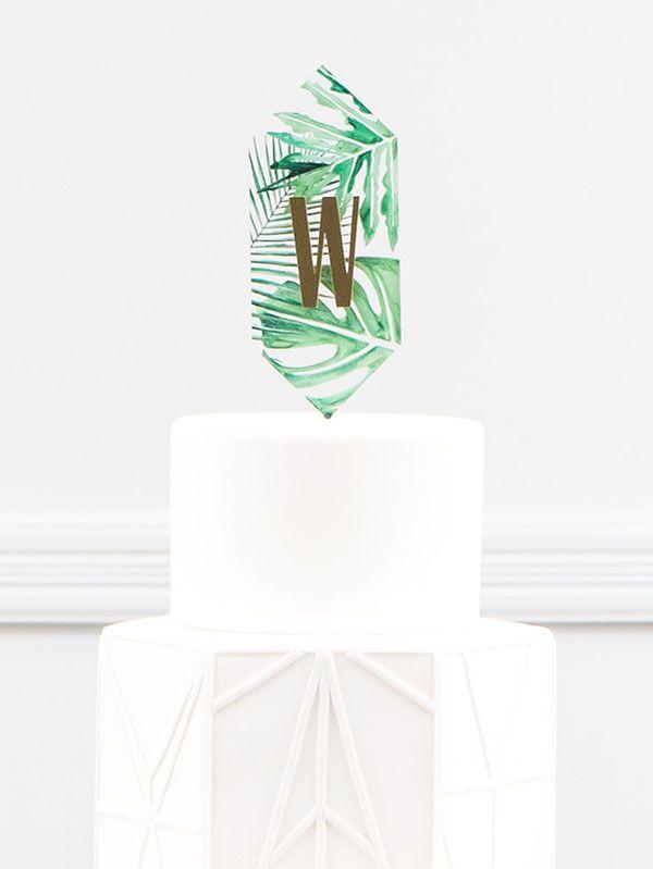 greenery initial wedding cupcake topper