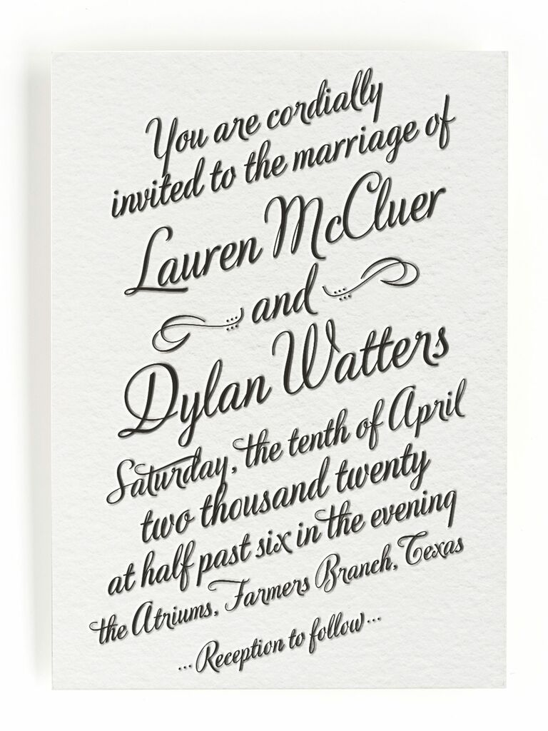 Minted spring wedding invitation with whimsical font