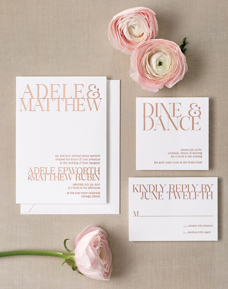 Contemporary rose gold foil wedding invitation