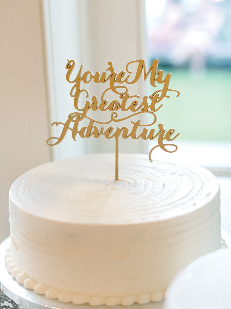 Simple and unique wedding cake inspiration simple single tier wedding cake with calligraphed cake topper junglespirit Images