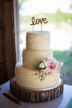 Tiered Cake with Textured Buttercream and Cake Flowers