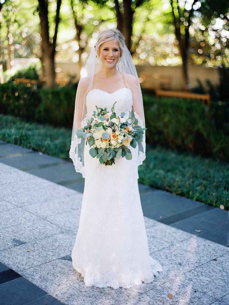 Strapless classic wedding dress with lace