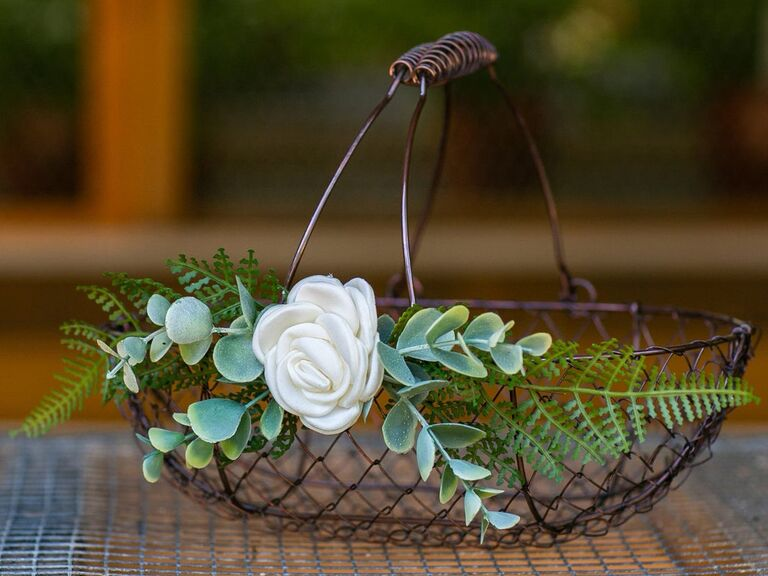 shallow wire flower girl basket